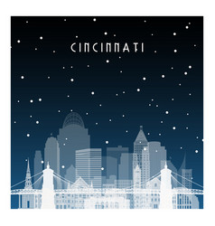winter night in cincinnati night city in flat vector image
