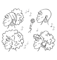 woman African American music vector image
