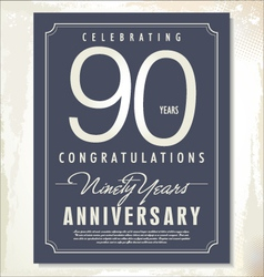 90 years anniversary background vector image