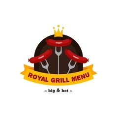 bright bbq and grill restaurant logo Brand vector image