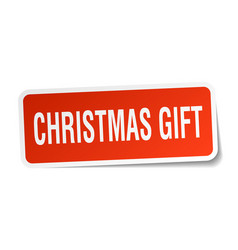 christmas gift square sticker on white vector image vector image