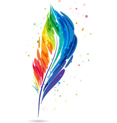 colorful feather pen vector image vector image