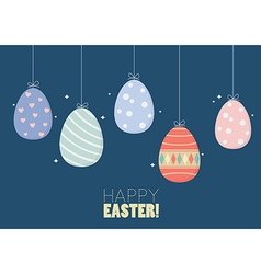 Colorful hanging easter eggs vector image vector image