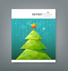 Cover report Christmas tree geometry design vector image vector image