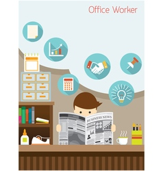 Office Worker Read Business Newspaper in Office vector image vector image