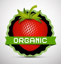 Organic Label with Strawberry vector image vector image