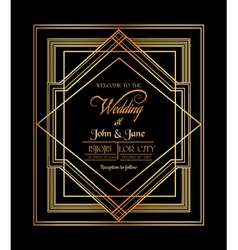 Wedding invitation card - art deco gatsby style vector