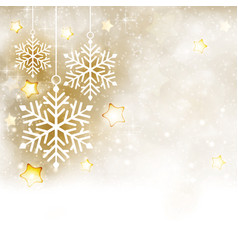 white golden winter christmas background with vector image