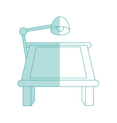 blue shading silhouette cartoon drawing table with vector image