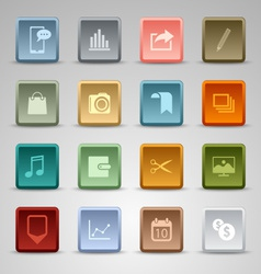 Colored set square wed buttons template vector