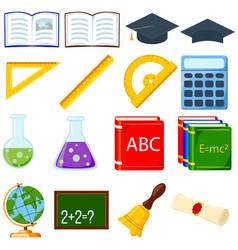 colorful cartoon school set 16 elements vector image vector image