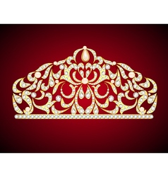 feminine decorative tiara crown with jewels vector image vector image