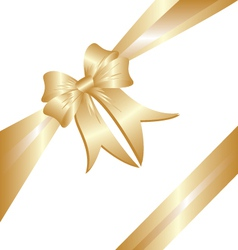Gold ribbon Christmas gift vector image