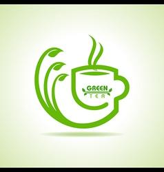 green tea cup icon vector image vector image