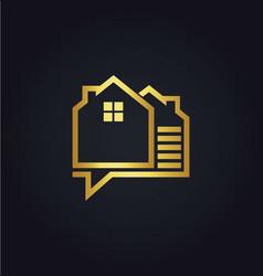 house data technology gold logo vector image vector image