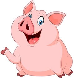 Cute fat pig presenting isolated vector image vector image