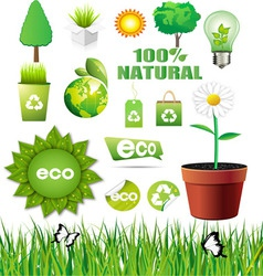 ecology elements set vector image vector image