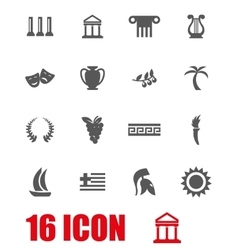 grey greece icon set vector image