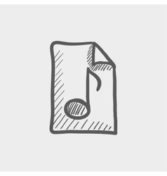 Origami musical note in a paper sketch icon vector image