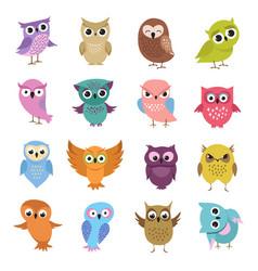 cute cartoon owls funny forest birds vector image