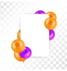 Hallooween frame with balloons on transparent vector image vector image