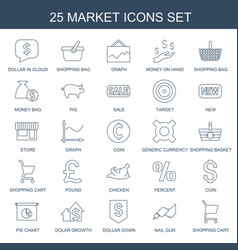 25 market icons vector