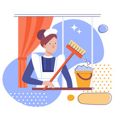 A maid or female cleaner with a bucket and mop vector