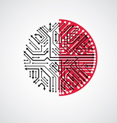 abstract technology with round black and red vector image