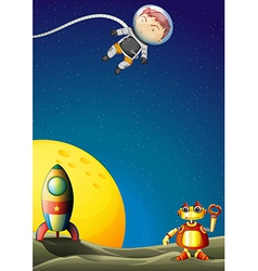 An astronaut and a robot in the outerspace vector image