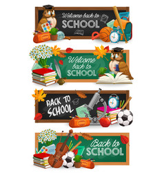 back to school education banner with owl and books vector image