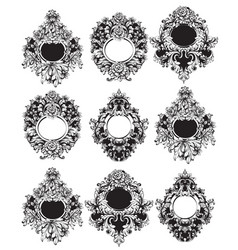 Baroque round frame sets collection vector