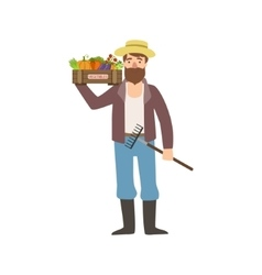 Bearded Man With Rake And Crate Of Vegetables vector