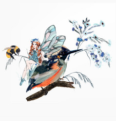 Beautiful girl fairy sitting on bird vector