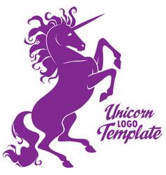 Beautiful prance unicorn logo template vector