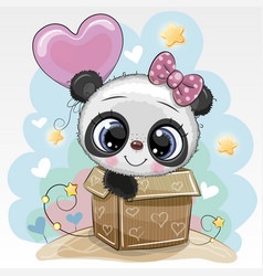 Birthday card cute panda and balloon vector