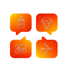 brilliant gift and wedding rings icons vector image