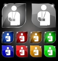 Broken arm disability icon sign Set of ten vector