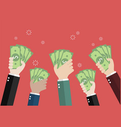 Businessman holding money for auction bidding vector