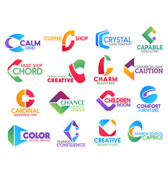 C letter corporate identity business icons vector
