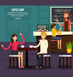 Cafe worker flat composition vector