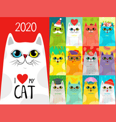 Calendar 2020 with cute cats character cats vector