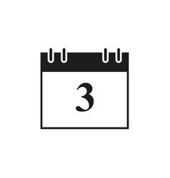 Calendar of date 3 black icon vector