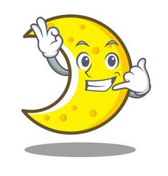Call me crescent moon character cartoon vector