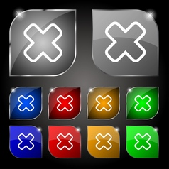 Cancel icon sign Set of ten colorful buttons with vector image