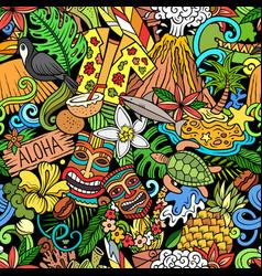 Cartoon doodles hawaii seamless pattern vector