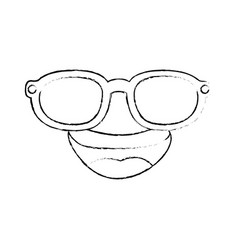 Cartoon face with sunglasses icon vector
