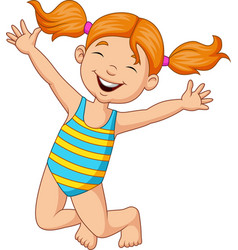 cartoon happy girl in a swimsuit vector image
