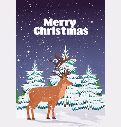 cartoon reindeer standing in winter forest cute vector image