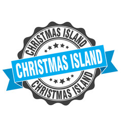 christmas island round ribbon seal vector image