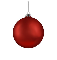 Christmas red ball handing on string xmas vector